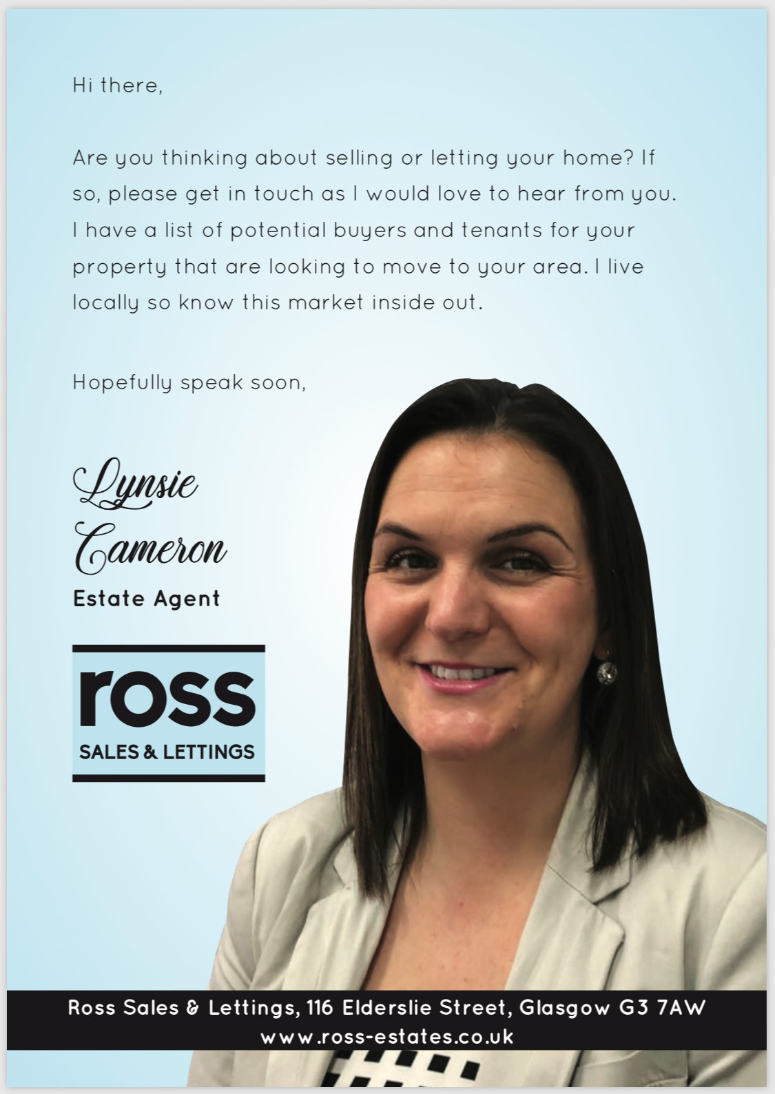 Lynsie Cameron is setting records for selling in Glasgow East and South Lanarkshire